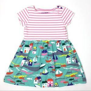 Mini Boden Girls Pink Green Striped Sailboat Dress